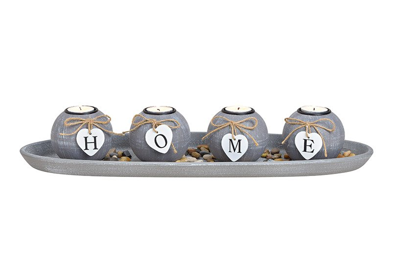 Tealight holder 4-set on tablet with stones ''home'' mdf grey 50x10x18cm