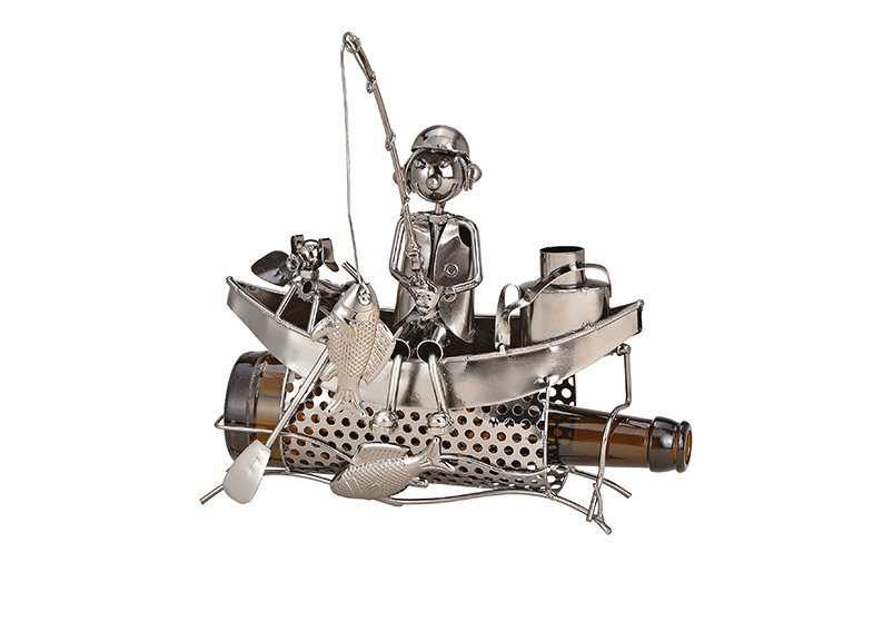 Flaschenhalter für Bierflasche Angler Boot aus Metall Schwarz (B/H/T) 23x20x12cm