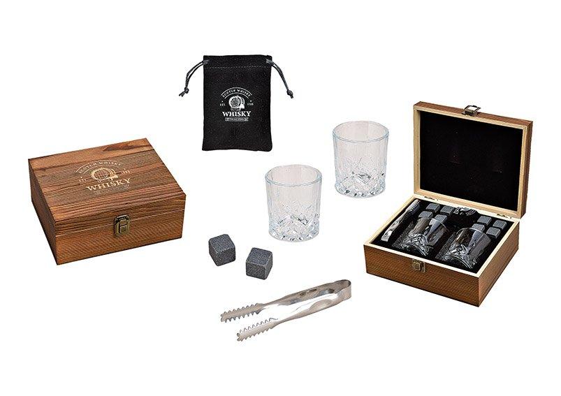 Whisky Stein Set, Eiswürfel aus Basalt Stein 2x2x2cm, 2 Gläser 9x8x9cm, 300ml, eine Zange Grau 8er Set, in Holzbox (B/H/T) 23,7x10x20,2cm