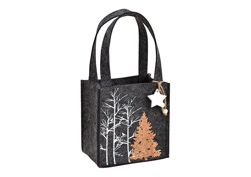 Felt basket, tree decor, with handel, grey, 15x15x10cm