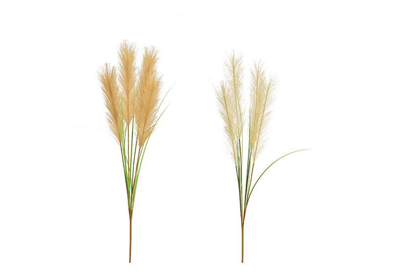 Pampas grass made of plastic natural 2-fold, (h) 76cm