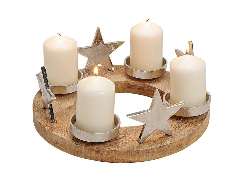 Advent candle holder, mango wood/metal, silver (w/h/d) 30x13x30cm