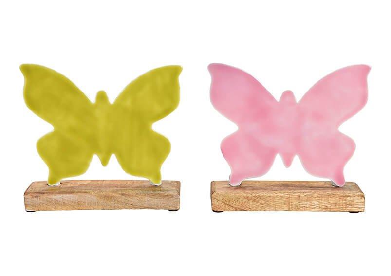 Aufstellter Schmetterling aus Metall auf  Mangoholz Sockel Pink/Rosa, grün 2-fach, (B/H/T) 20x19x5cm