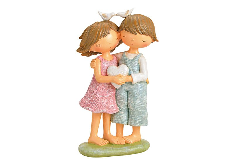 Figur Mädchen/Junge-Paar aus Poly Bunt (B/H/T) 11x19x7cm