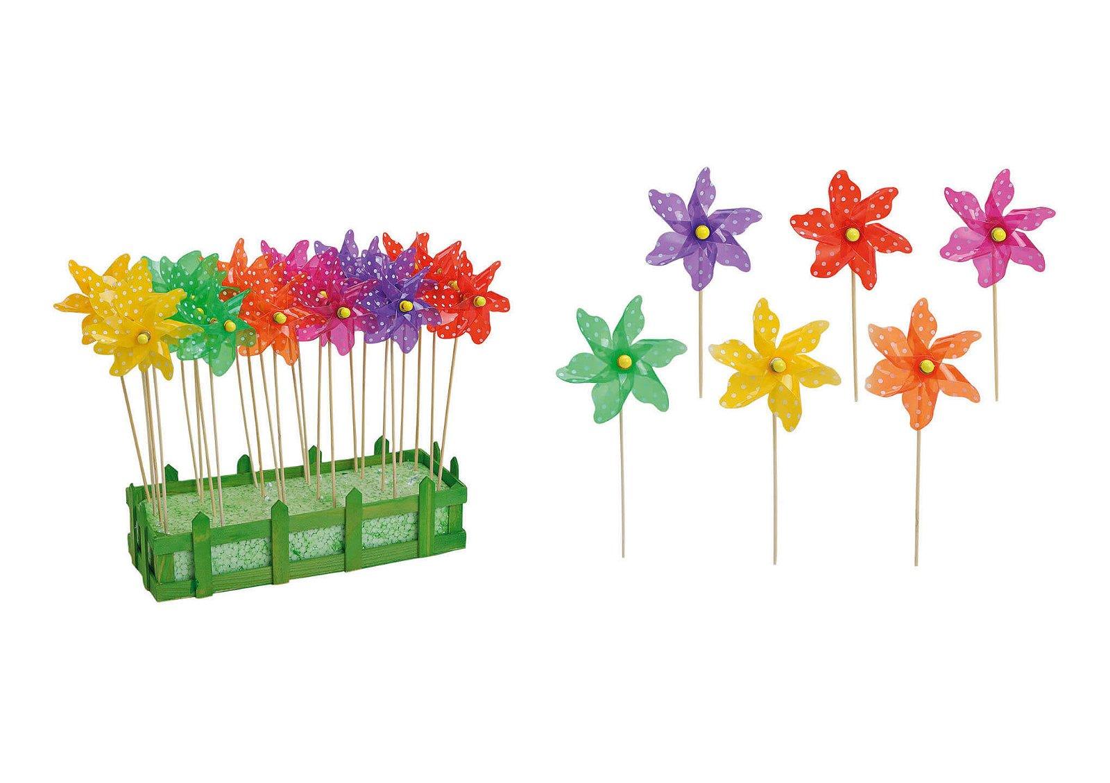 Stick windmill plastic/wood 6- ass.28cm