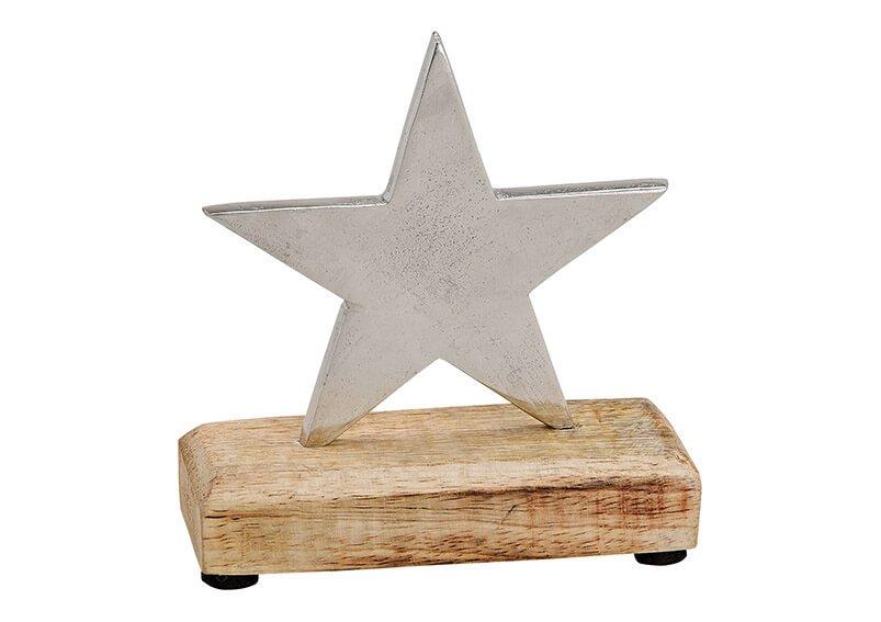 Star metal/mango wood, silver (w/h/d) 12x12x5cm