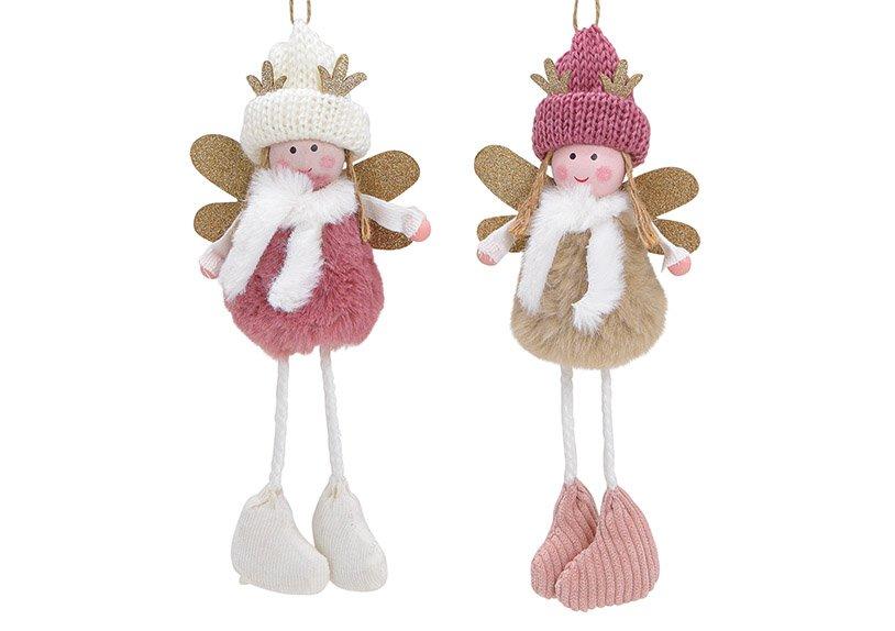 Hanger angel textile pink/rose 2-asst. 9x21x5cm
