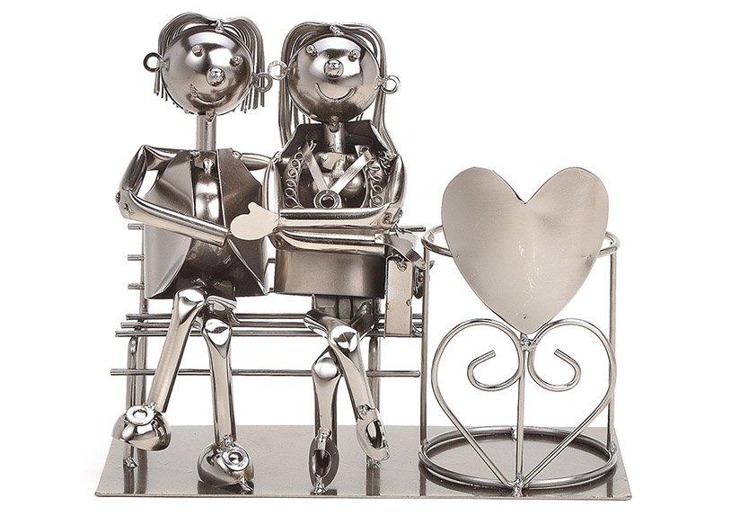 Flaschenhalter für Weinflasche Paar sitzend auf Bank aus Metall Schwarz (B/H/T) 26x21x12cm