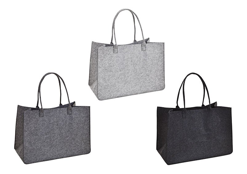 Tasche mit Henkel aus Filz Grau 3-fach, (B/H/T) 50x35x27cm