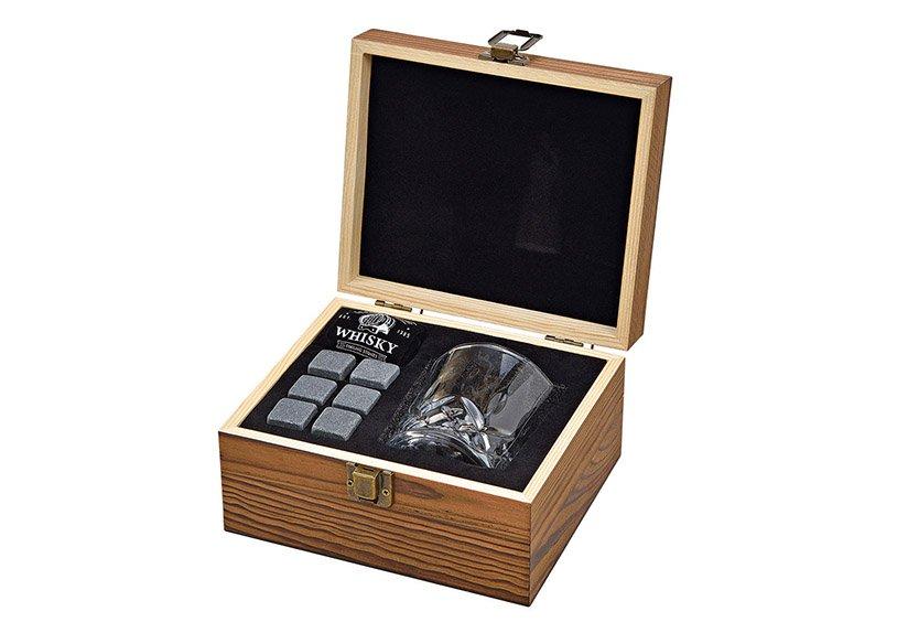 Whisky Stein Set, Eiswürfel aus Basalt Stein 2x2x2cm, Glas 9x8x9cm, 300ml, Grau 6er Set, in Holzbox (B/H/T) 18x10x16,6cm