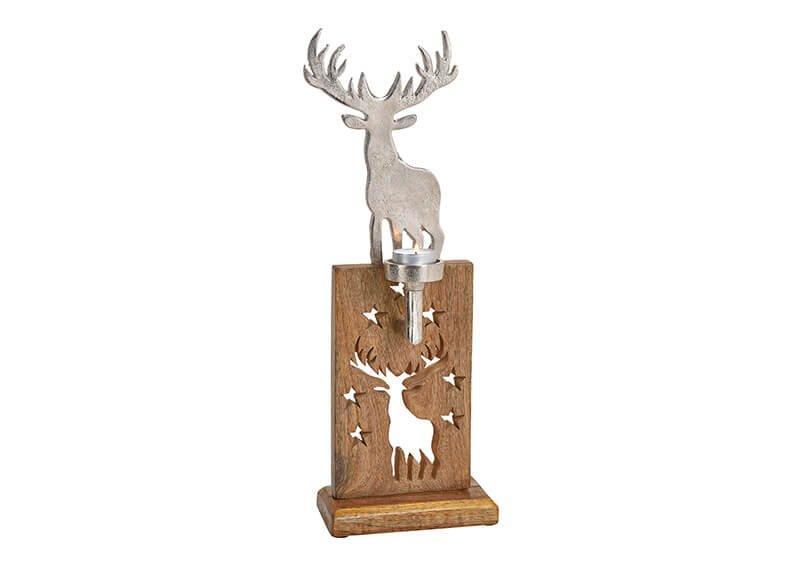 Tealight holder elk metal, magowood silver/brown 15x44x7cm