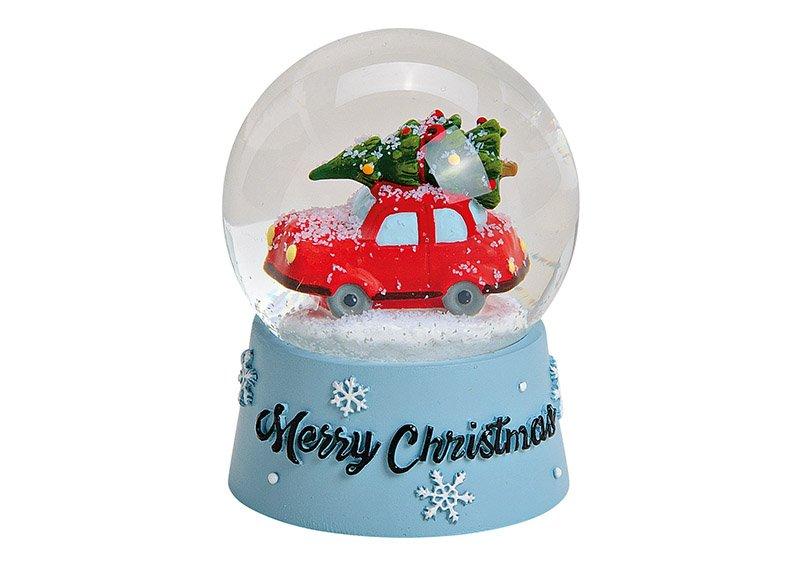 Schneekugel Weihnachtsauto Merry Christmas aus Poly, Glas Bunt (B/H/T) 6x9x6cm