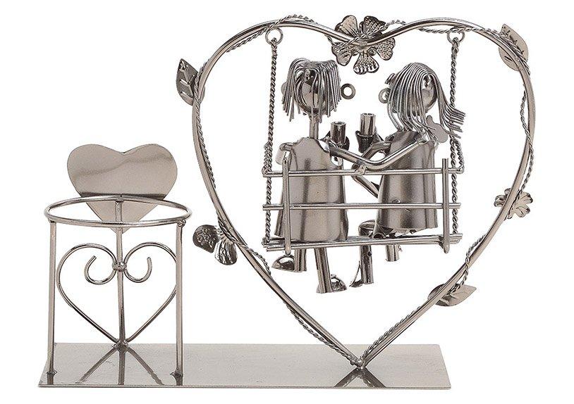 Flaschenhalter für Weinflasche Paar sitzend auf Herzschaukel aus Metall Schwarz (B/H/T) 32x23x10cm