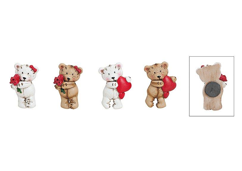 Magnet bear with heart/rose poly 4-ass. 4x6 cm