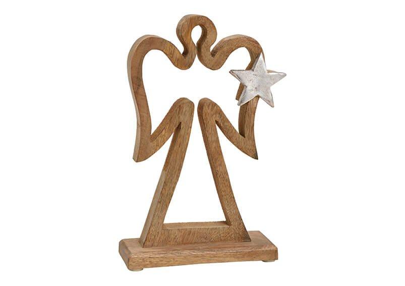 Angel with metal star dekor, mango wood, brown, 17x28x6cm